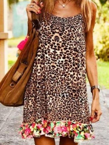 Casual Sexy Leopard print Gored Vest Shift Dresses