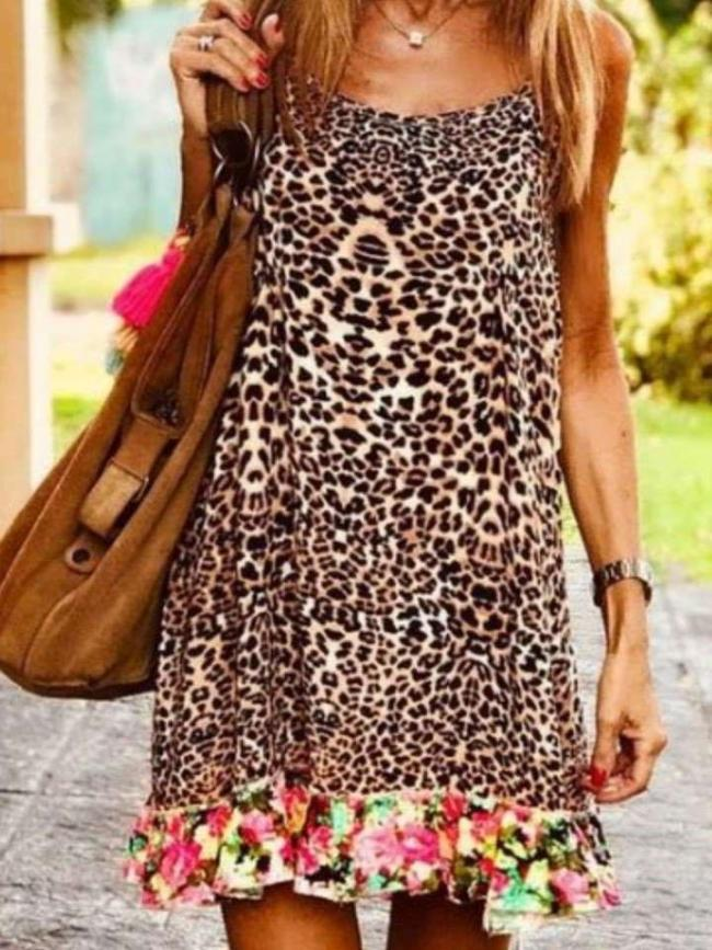 Casual Sexy Leopard print Gored Vest Shift Dresses
