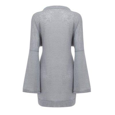 Loose Pure Fastener Mandarin sleeve Knit Cardigan
