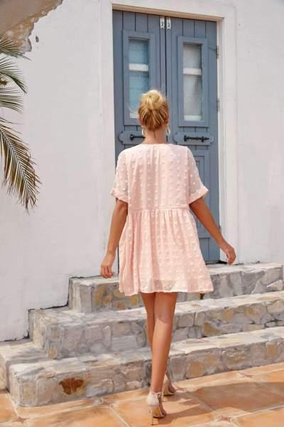 Casual Loose V neck Short sleeve Gored Shift Dresses