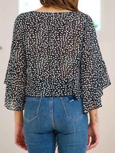Women Thin Round Neck Chiffon Printed Blouses