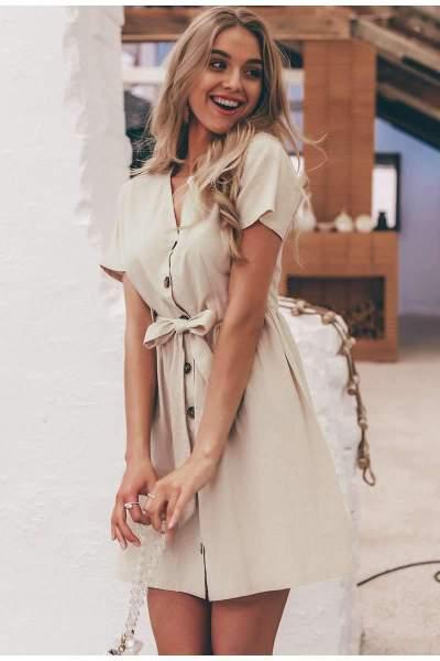 Casual Pure Fastener V neck Short sleeve Lacing Skater Dresses
