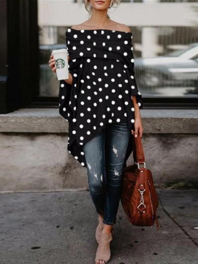 Off Shoulder Fashion Woman Pot Printed Long Sleeve T-shirts