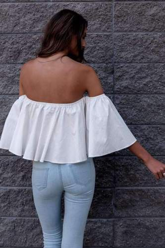 Casual Sexy Pure One shoulder Half sleeve Short Blouses