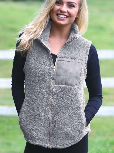 Fashion Plush Stand collar Zipper Jackets