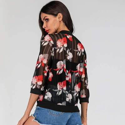 Fashion Print Zipper Round neck Long sleeve Lycras