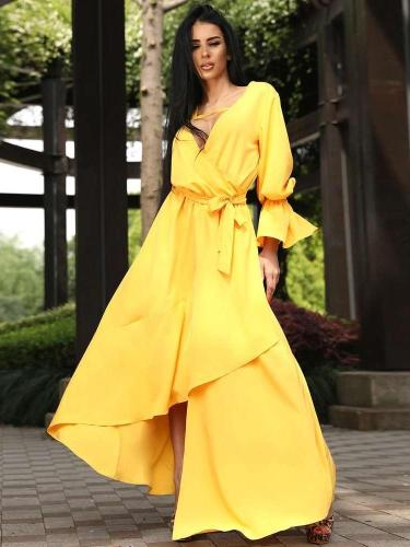 Fashion V neck Irregular Lacing Long sleeve Maxi Dresses