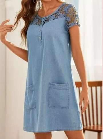 Casual Pure Lace Hollow out Round neck Short sleeve Pocket Shift Dresses