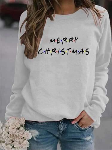 Fashion Casual Christmas Word print Round neck Long sleeve Sweatshirts