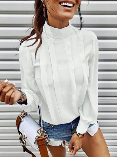 Fashion high collar chiffon long sleeve blouses