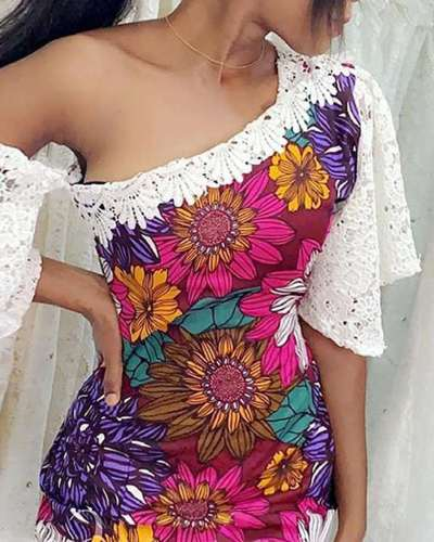 Fashion Lace Gored Print Single-shoulder Bodycon Dresses