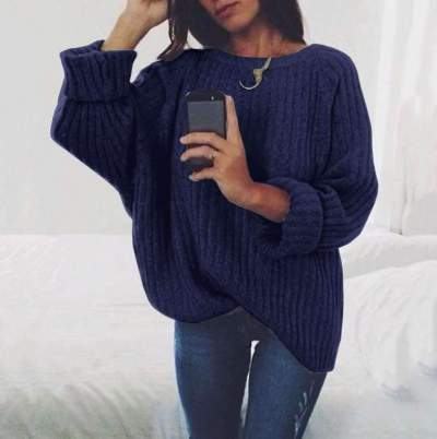 Pure Loose Round neck Knit Long sleeve Sweaters
