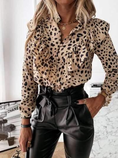 Leopard Printed long sleeve flounces chic blouses