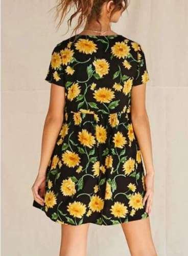 Casual Loose Print Gored V neck Short sleeve Shift Dresses