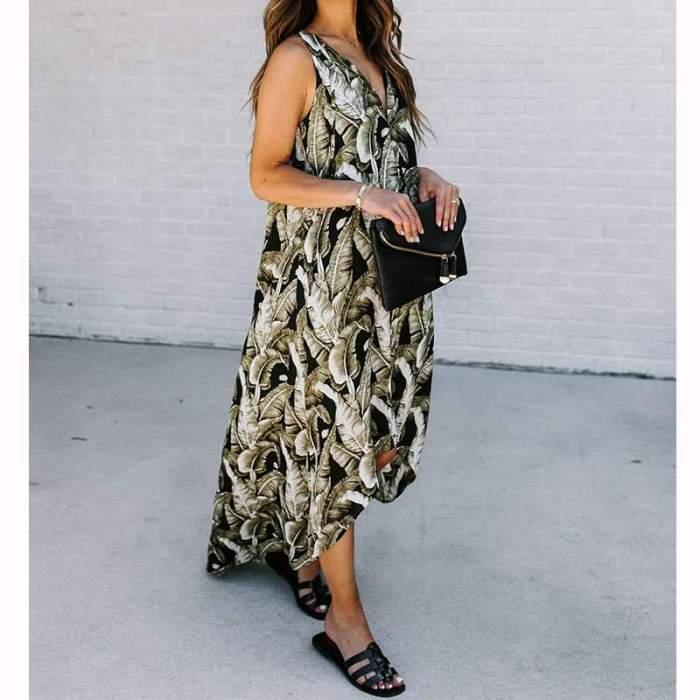 Fashion Print V neck Irregular Sleeveless Maxi Dresses