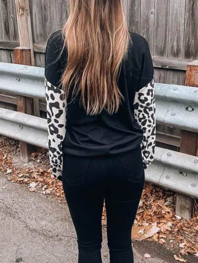 V-neck crossed leopard print casual long-sleeve T-shirts