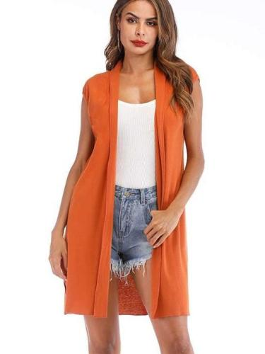 Fashion Pure Sleeveless Cardigan