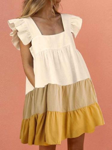 Casual Loose Gored Square collar Falbala Pocket Shift Dresses