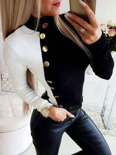 Fashion Long sleeve Gored Fastener T-Shirts