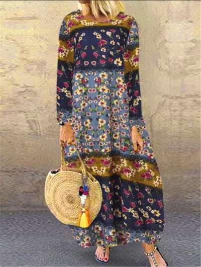 Print Long sleeve Round neck Maxi Dresses