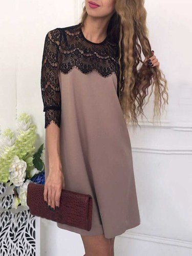 Lace Paneled Casual Solid Dress