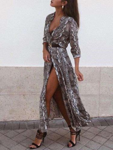 Fashion Casual Serpentine printing Long sleeve Maxi Dresses