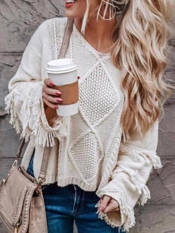 Round Neck Long Sleeve Tassel Fashion Knitting Sweaters