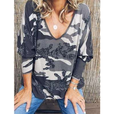 Casual Loose Print V neck T-Shirts