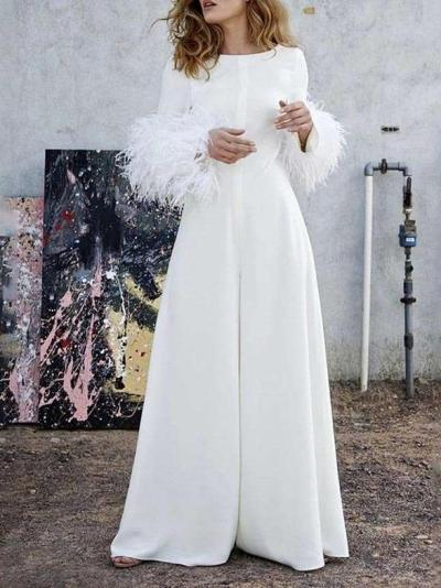 Pure Round neck Casual Puff sleeve Jumpsuits