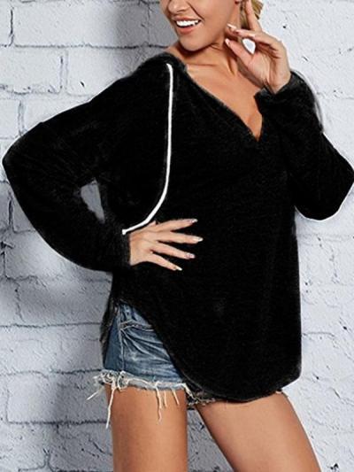 V-neck hooded plain long sleeve sweatshirt Hoodies