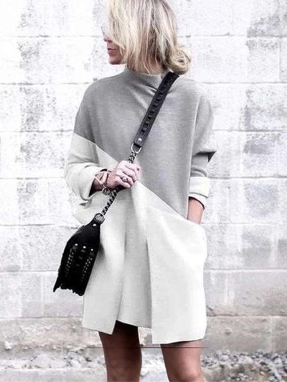 Fashion Round neck Pocket Long sleeve Shift Dresses