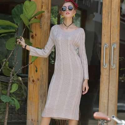 Fashion Pure Knit Long sleeve Tee Maxi Dresses