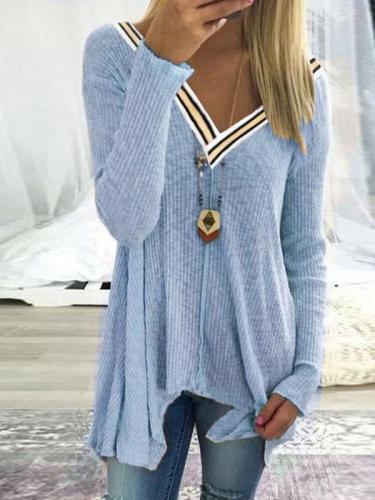 Stitching A Sexy V-Neck Irregular Knitted Sweater