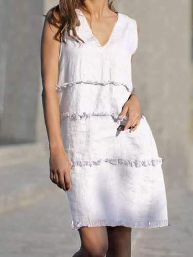 Cotton And Linen Stitching Comb Sleeveless Women's Dress
