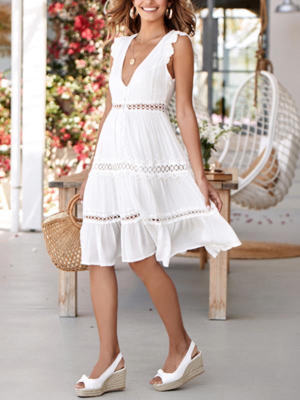 Sexy v-neck lace patchwork sleeveless skater dresses