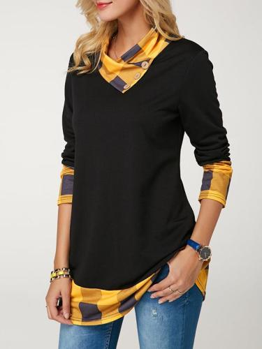Plaid Patterned T-shirt With Long Sleeves