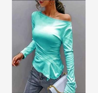 Fashion Pure One shoulder Long sleeve T-Shirts