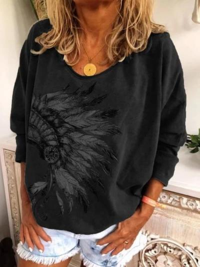 New printed round neck long sleeve T-shirts