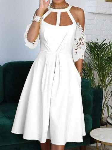 Fashion Pure Round neck Lace Hollow out Short sleeve Maxi Dresses