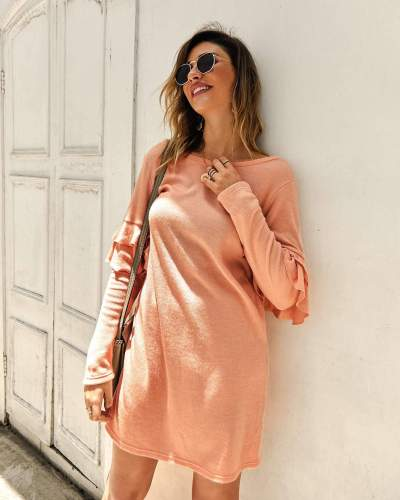 Fashion Falbala Knit Round neck Long sleeve Shift Dresses