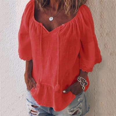 Casual Loose Pure V neck Gored Half sleeve Blouses
