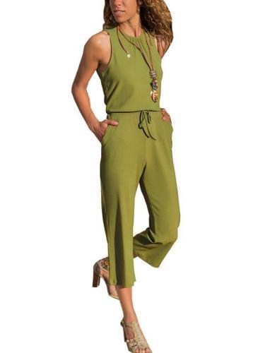 Plain Round neck sleeveless nine-point jumpsuits