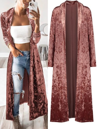 Autumn Velvet Plain Young Thin Coats