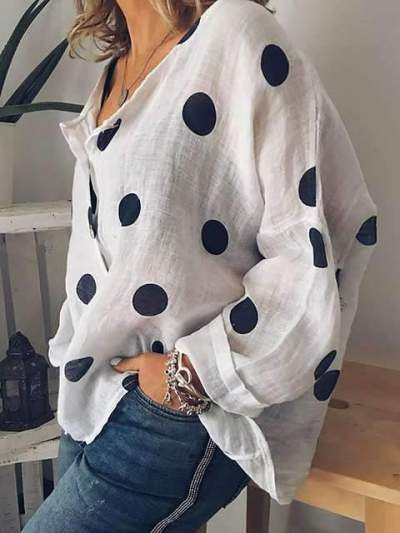Casual Loose Point print V neck Long sleeve Blouses