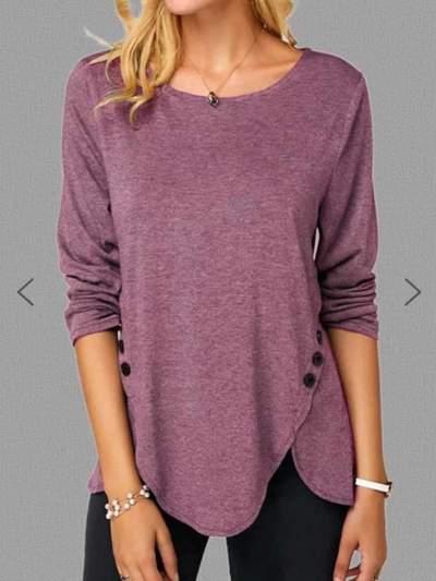 Pure Round neck Long sleeve Irregular T-Shirts