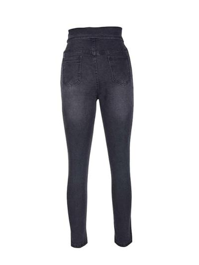 Fashion Button stretch high waist lapel pencil jeans