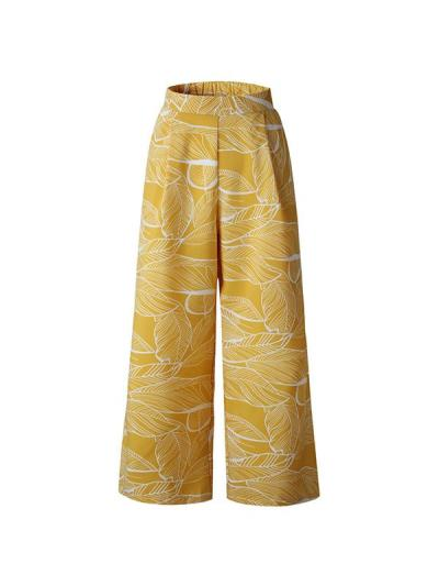 Leaf printed slacks Casual Loose Daily Long Pants
