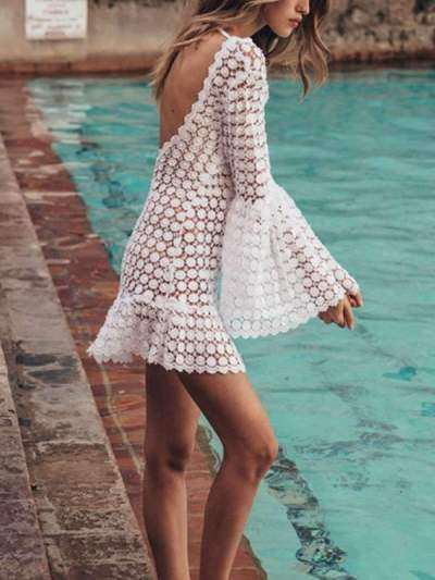 hot style sexy round neck long sleeve beach vacation dresses