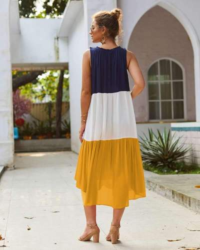 Fashion Gored Sleeveless Round neck Maxi Dresses