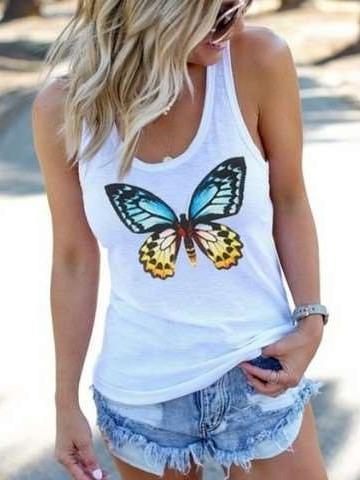 Fashion Butterfly print Round neck Vests